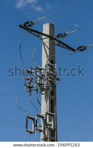 Electrical power line on concrete pole