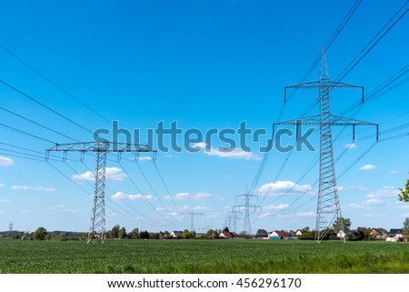 Electrical power lines seen in rural Germany