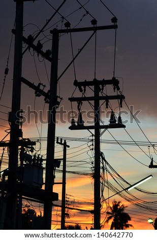 Electrical power transformer - stock photo
