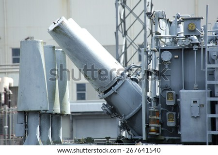 Electrical power transformer in high voltage substation.(Mobile transformer) - stock photo