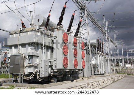 Electrical power transformers. - stock photo