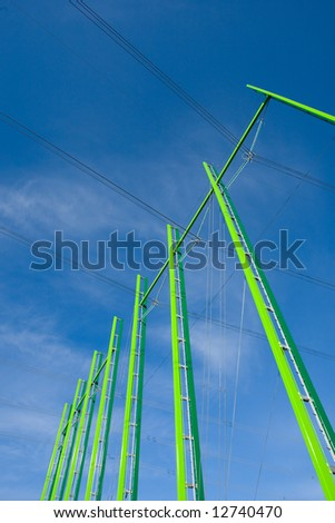 Electrical powerlines with blue sky