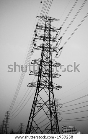Electrical pylone in Black and White. Deep Depth of Field.