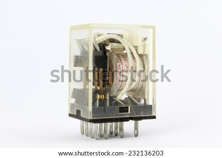 Electrical relay isolated on white background.