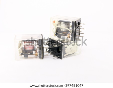 Electrical relay isolated on white background