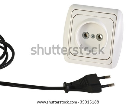 electrical socket and plug with a wire isolated on white