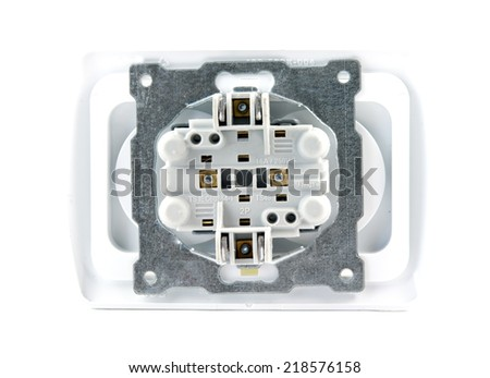 electrical socket isolated over white background, back side - stock photo