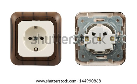 Electrical socket isolated over white background, set of front and back sides - stock photo