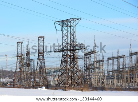 electrical substation blue sky