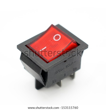 electrical switch isolated on white background - stock photo