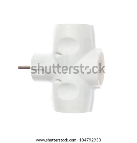 Electrical Tee Connector closeup on a white background. - stock photo