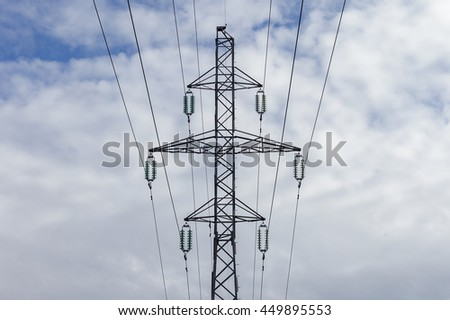 Electrical tower with high voltage wires
