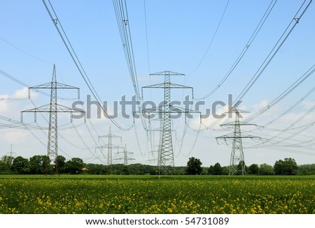 electrical towers and nature - stock photo