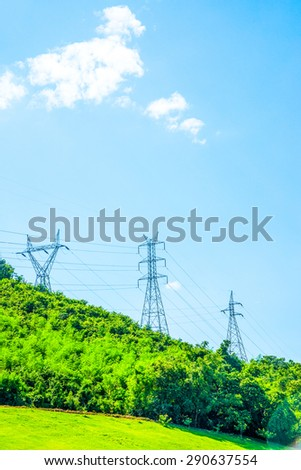 Electrical Towers on Mountain, Thailand.