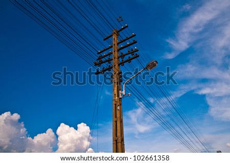 Electrical transmission towers. - stock photo