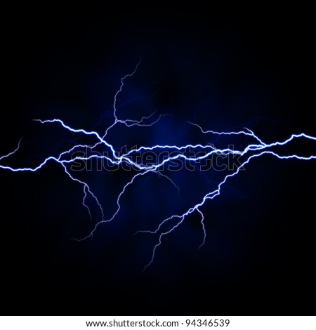 electrical white blue lightnings over dark background - stock photo