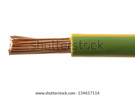 Electrical wires isolated on white background - stock photo