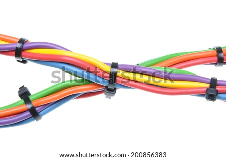 Electrical wires with cable ties isolated on white background