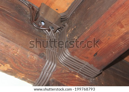 Electrical Wiring Ceiling Beams Room Old Stock Photo (Royalty Free ...