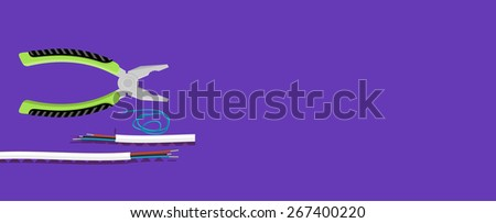 Electrical work. Metal pliers with tangled blue red electric cable pliers cut the cable. Electrician peeling off insulation from wires and plier. Flat icon modern design style concept. Raster version  - stock photo