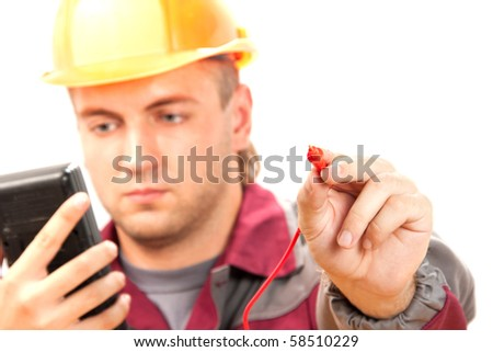 Electrician at work. Isolate on white - stock photo