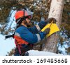 Electrician attaches to electricity pylon information sign in the woods in winter  - stock photo