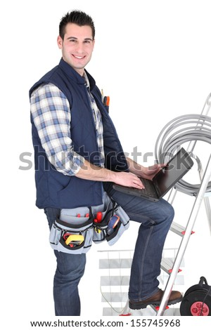 Electrician equipped - stock photo