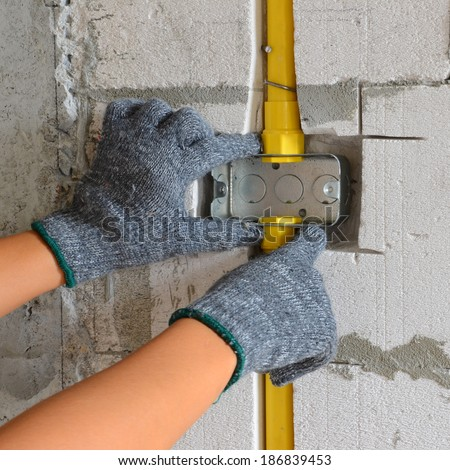 Electrician Installing Electrical Boxes PVC Pipe Stock Photo ...