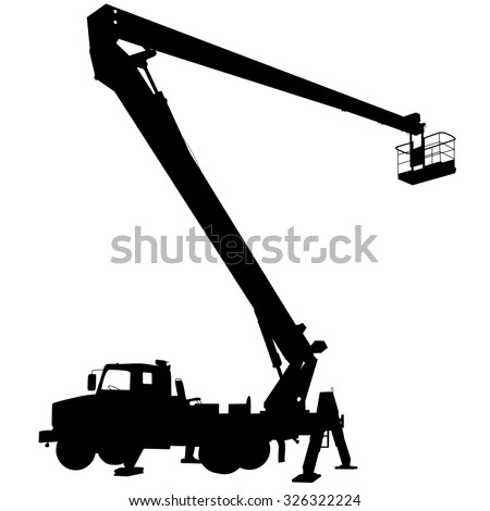 Electrician, making repairs at a power pole. illustration.
