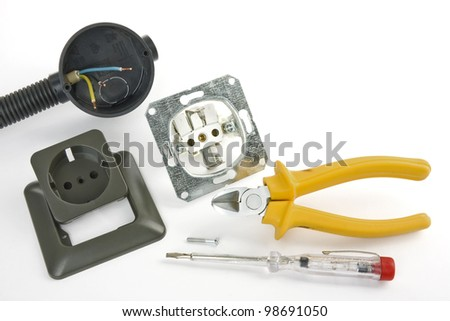 Electrician tool on a white background - stock photo
