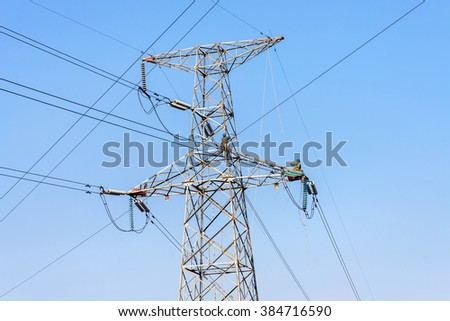 Electrician worker on the Working at height