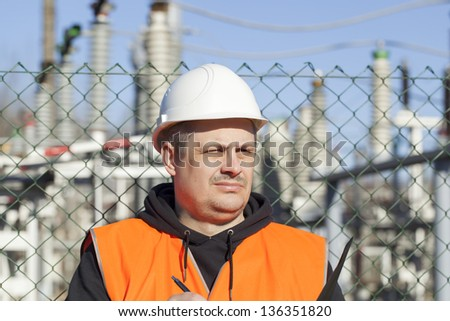 Electrician written near to  the electric substations - stock photo