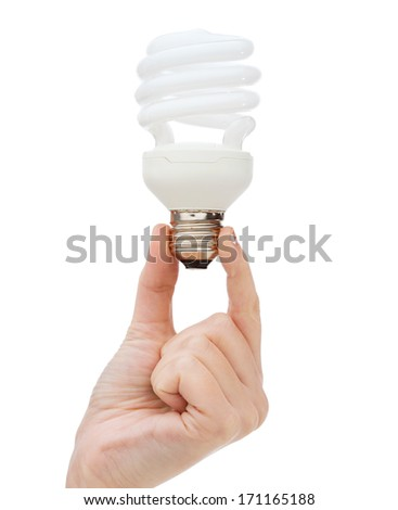 electricity and energy concept - close up of woman hand holding energy efficient light bulb