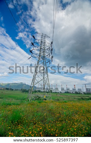 Electricity and Power Plant with Greenery View