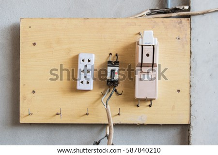 stock photo electricity breaker box installed on wooden 587840210 home fuse box stock images, royalty free images & vectors,Yellow House Fuse Box