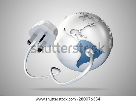 Electricity cable and plug connects energy to South America. Concept for supply of power and energy to South America - stock photo