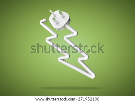 Electricity cable bends to make the shape of an icon representing an electrical appliance - stock photo