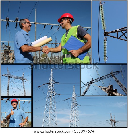 Electricity Distribution. Electricity Pylon. Power Lines. Electrical Engineer. Collage of photographs showing electric company workers at the power substation with power distribution equipment. - stock photo
