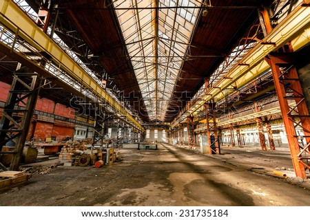 Electricity distribution hall at the metal industry - stock photo
