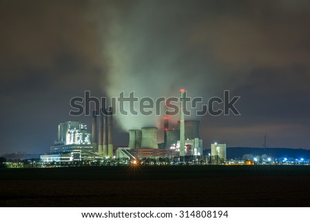 electricity factory at night