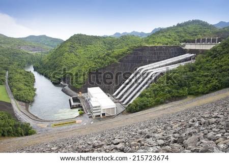 Electricity Generator front of Sri Nakharin Dam, Kanchanaburi, Thailand   - stock photo