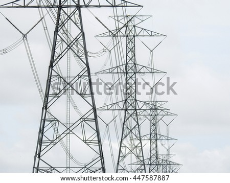 electricity high voltage pole in cloudy day