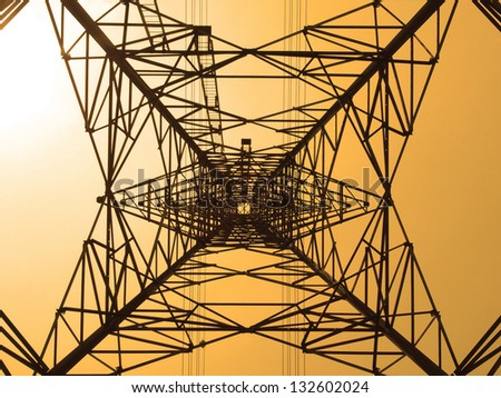 Electricity high voltage power pylon - stock photo