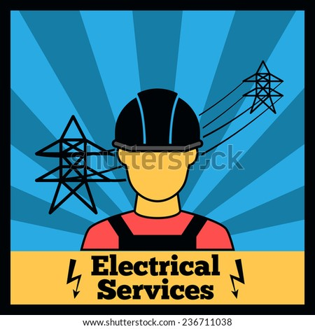 Electricity icon poster with electrician silhouette and power line  illustration - stock photo