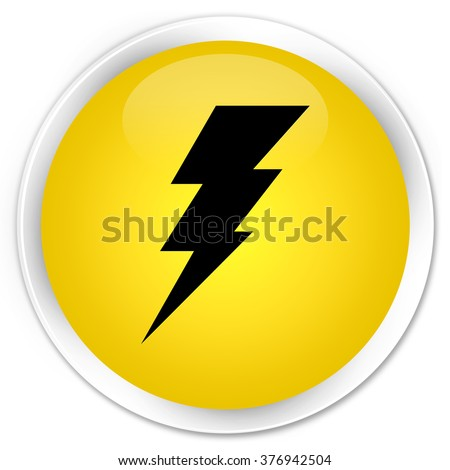 Electricity icon yellow glossy round button - stock photo