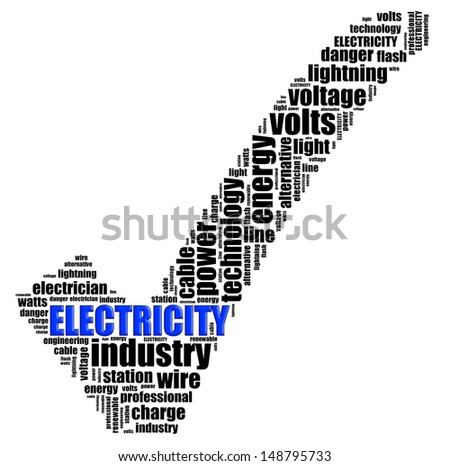 ELECTRICITY info text graphics and arrangement concept (word clouds) on white background