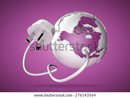 Electricity plug and cable connects to north America on world globe. Concept for how earth relies on electricity and power.  - stock photo