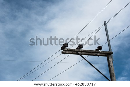 electricity  pole and blue sky background.