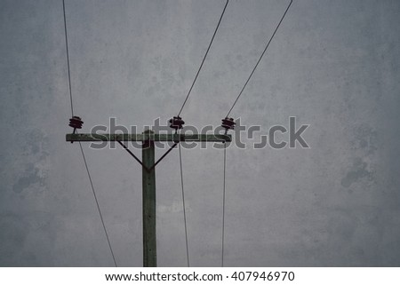 Electricity pole and sky background, process vintage grunge tone - stock photo