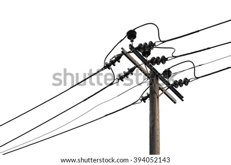 electricity pole isolated on white background